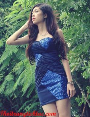 Đầm ôm cúp ngực xanh- MD167
