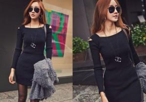 Đầm ôm tay dài khoét vai màu đen-MD295
