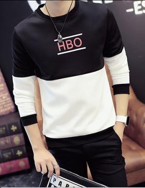 Áo thun nam tay dài HBO đen phối trắng - A9033