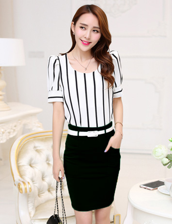 Áo kiểu sọc trắng đen - A9059