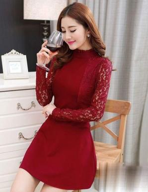 Đầm xòe màu đỏ phối tay ren - A9103