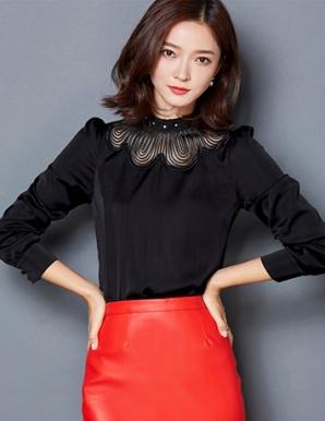 Áo kiểu màu đen cổ cách điệu - A9254
