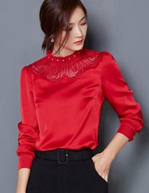 Áo kiểu màu đỏ cổ cách điệu - A9255