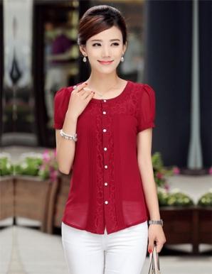 Áo kiểu nữ màu đỏ xếp ly phối ren ngực - A9267