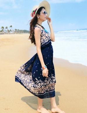 Đầm maxi hoa lá xanh đen - A9362