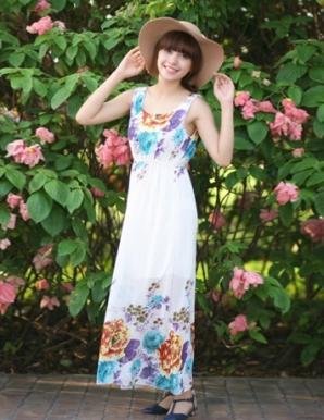 Đầm maxi hoa hải đường tím - A9364
