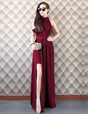 Đầm dự tiệc màu đỏ xẻ tà thời trang - A9435