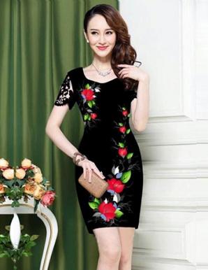Đầm ôm body in 3D hoa rơi tay ren - A9576