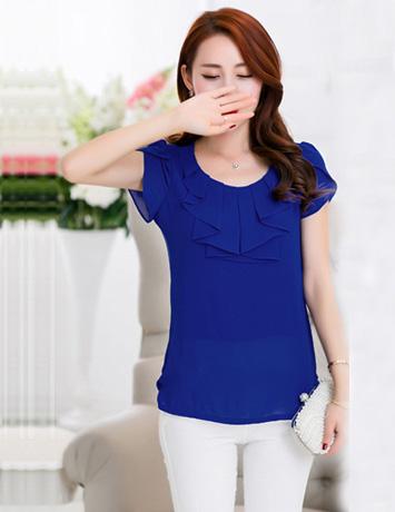 Áo kiểu nữ màu xanh cổ cách điệu - A9643
