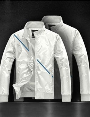 Áo khoác dù sọc chéo màu trắng - A9722