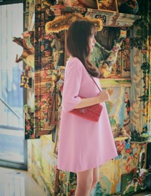 Đầm suông màu hồng phối nơ lưng - A9738
