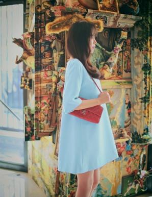 Đầm suông màu xanh phối nơ lưng - A9739