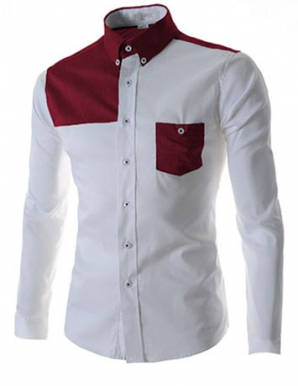 Sơ mi nam phối túi màu trắng đỏ - A9928