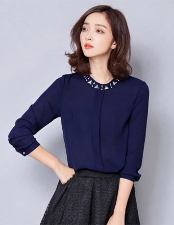 Áo kiểu nữ màu xanh cổ đính hạt - A9971