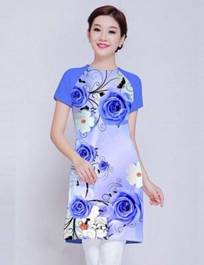 Áo dài cách tân in 3D hoa hồng xanh - B0022
