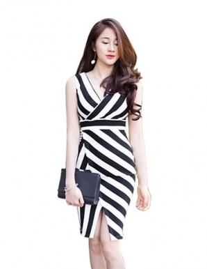 Đầm ôm body sọc xéo thời trang - B0118