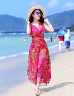 Đầm maxi màu hồng xếp ly ngực - B0149