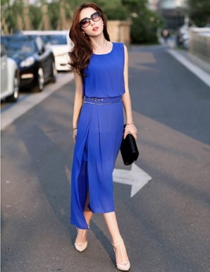 Đầm voan tà lệch màu xanh ấn tượng - B0151