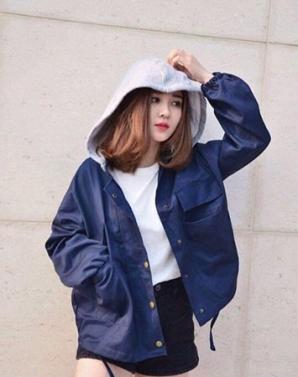 Áo khoác nữ kaki phối nón màu xanh đen - B0159