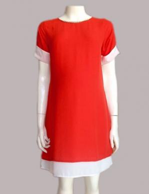 Đầm bầu tay măng séc màu cam - B0191