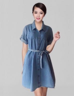Đầm xòe jean cổ sơ mi thời trang - B0226