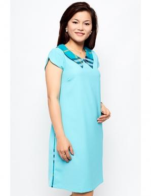 Đầm bầu cổ phối sọc trẻ trung màu xanh - B0275