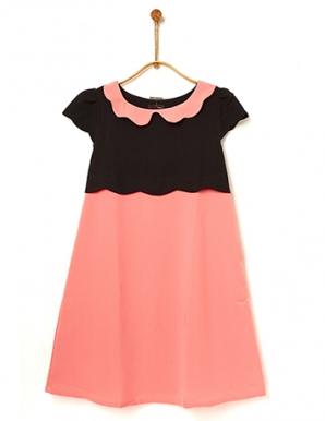 Đầm bầu hai sắc đen phối hồng - B0277