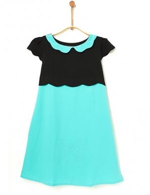 Đầm bầu hai sắc đen phối xanh - B0285