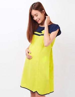 Đầm bầu công sở lai viền quyến rũ màu vàng bò - B0289