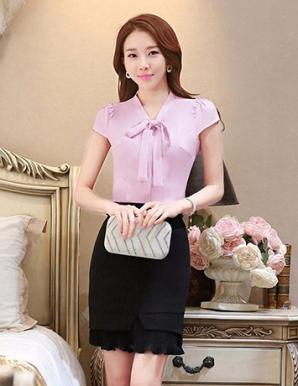 Áo kiểu nữ màu tím cổ thắt nơ - B0322