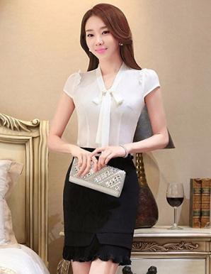 Áo kiểu nữ màu trắng cổ thắt nơ - B0323