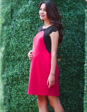 Đầm bầu công sở màu hồng phối nơ - B0351