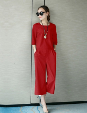Set áo tay lỡ quần ống rộng màu đỏ - B0381