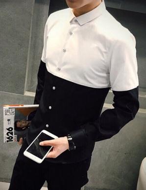 Sơ mi nam tay dài trắng phối đen - B0698