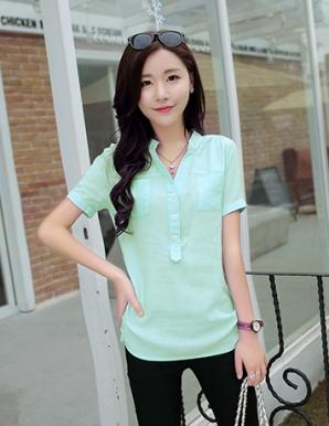 Áo kiểu màu xanh cổ trụ 2 túi dây rút - B0737