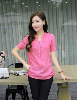 Áo kiểu màu hồng cổ trụ 2 túi dây rút - B0738