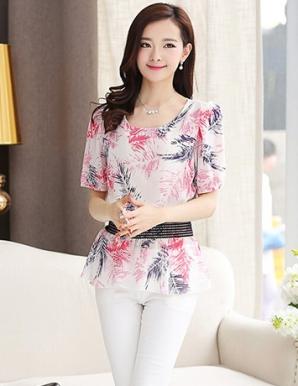 Áo voan màu hồng họa tiết lá - B0920