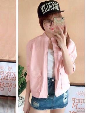 Áo khoác kaki nữ túi vuông màu hồng - B0936