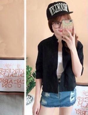 Áo khoác kaki nữ túi vuông màu đen - B0937