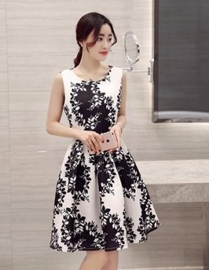 Đầm xòe dự tiệc in hoa thời trang - B0939