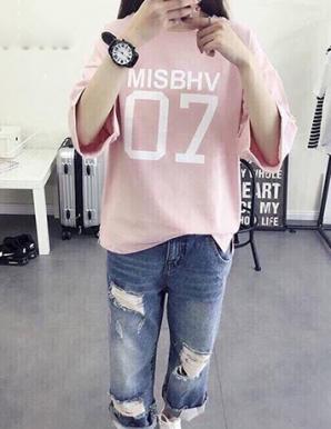 Áo thun nữ Form rộng màu hồng in chữ  - B1149