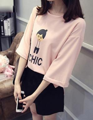 Áo thun nữ Form rộng màu hồng in chữ CHIC - B1153