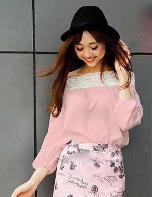 Áo kiểu nữ trễ vai phối ren màu hồng - B1159