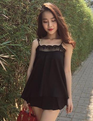 Áo kiểu nữ cúp ngực voan phối ren màu đen - B1205