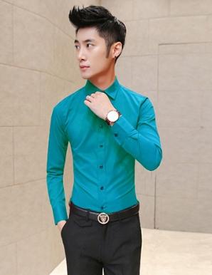Sơ mi nam tay dài trơn màu xanh - B1302