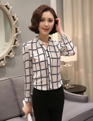 Áo kiểu nữ cổ trụ sọc vuông - B1357
