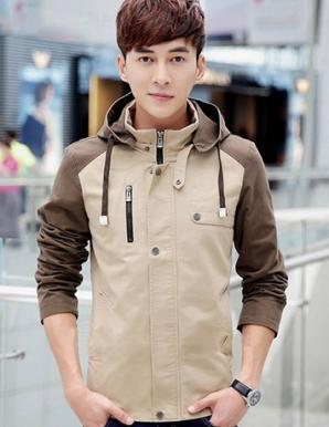 Áo khoác kaki nam phối nón màu kem - B1431