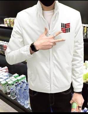 Áo khoác dù phối logo màu trắng - B1496