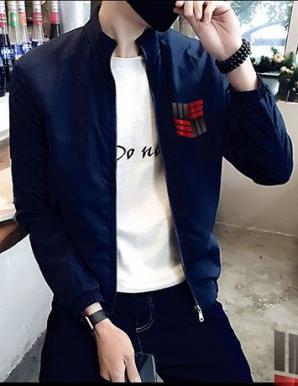 Áo khoác dù phối logo xanh đen - B1498