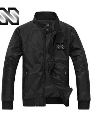 Áo khoác dù phối logo SS màu đen - B1500